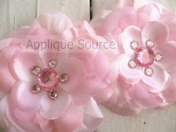 Big Silk and Oraganza Colored Rhinestone Flowers - Set of Two LIGHT PINK Flatback Flowers