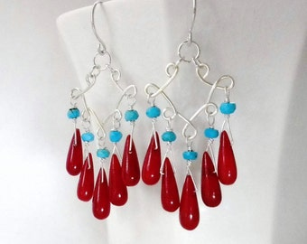 Red Coral Earrings, Red Coral Chandelier Earring, Turquoise and Coral Earrings, Turquoise and Red Earrings, Sterling Silver