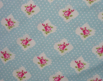 Rosie Dot Fabric  Darla Tanya Whelan Roses on  Blue TW20