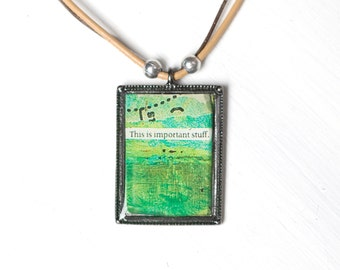 Important Stuff - Tan / Brown Abstract Necklace OOAK