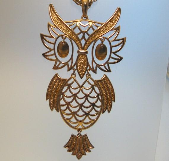 Huge Articulated Owl Necklace 5 Inch Pendant - Vintage