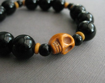 CLEARANCE Halloween Bracelet with Black and Orange Beads, Featuring a Skull Bead, Black and Orange, Halloween Jewelry, B 174 WAS 25