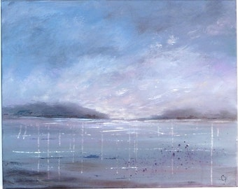Modern art seascape, Impressionistic beach painting, Large 16x20 blue acrylic abstract art