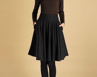 Wool Skirt, Womens Clothing,Black skirt, Midi Skirt, skirt with Pockets, Circle Skirt,Pleated skirt, knee length skirt,winter skirt,Gift 442