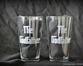 Etched Godfather Hiball Tumblers Pair for Godfather, Godparents, Baptism Gift   - by Jackglass on Etsy