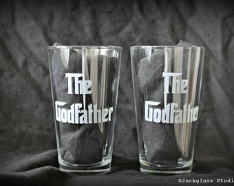 Etched Godfather Hiball Tumblers Pair for Baptism Gifts, Godfather, Godmother, Godparents  - by Jackglass on Etsy