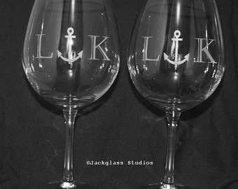 Nautical Wedding Etched Anchor Personalized Wine Glasses, Bride, Bridesmaid, Mother of the Bride by Jackglass on Etsy