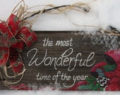 It's the most wonderful time of year - Barn board and barb wire sign