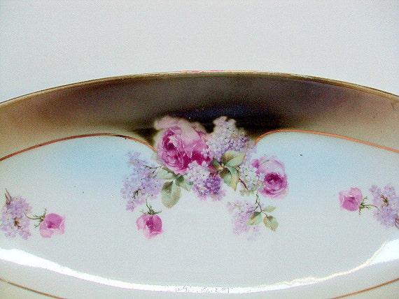 Vintage German Porcelain Elongated Vanity Tray or Serving Dish, cr 1900, Roses, 22K Gold , Otto Grunert, Eisenberg       I Take Credit Cards