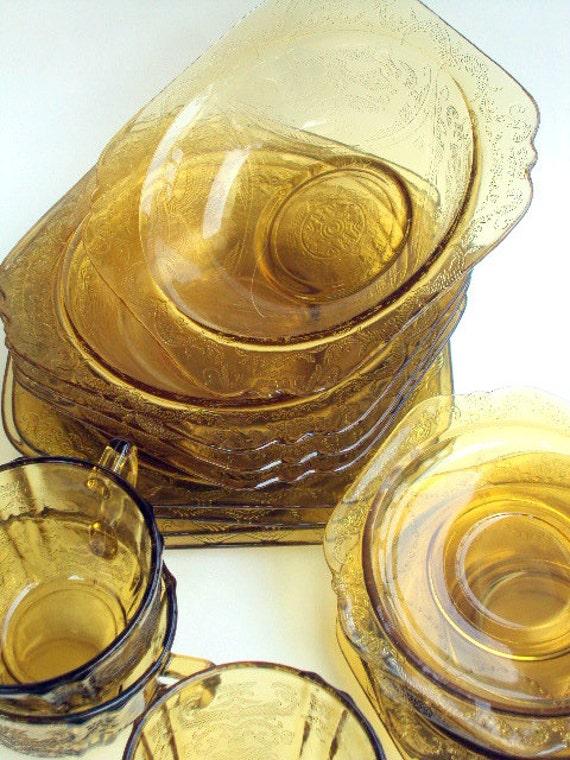 Vintage Amber Depression Glass Set, Madrid Pattern Amber,cr. 1930, Federal Glass Luncheon Set