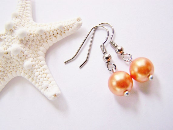 Pumpkin Pearl Earrings - Matching necklace also available