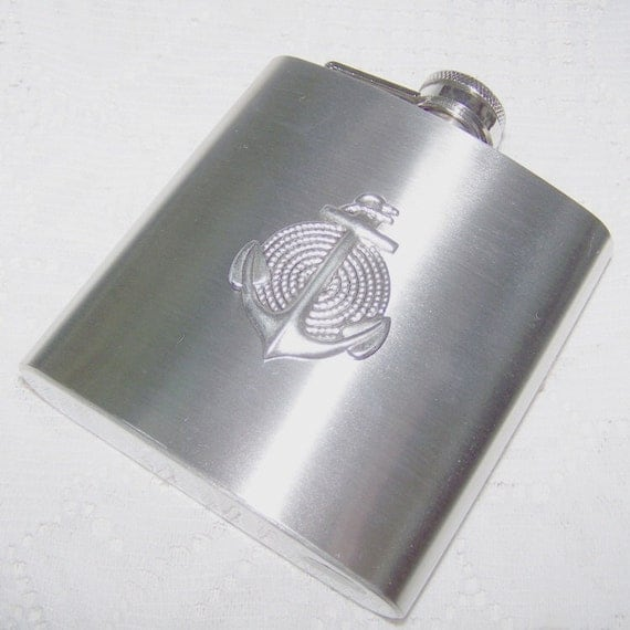 Beverage Flask - ANCHORS AWEIGH - Stainless Steel Flask - 3D Silver Anchor and Rope - 6 oz - Nautical Wedding - Navy Wedding