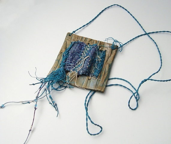 Woven Tapestry Window Necklace, Blue and Purple, Statement Piece