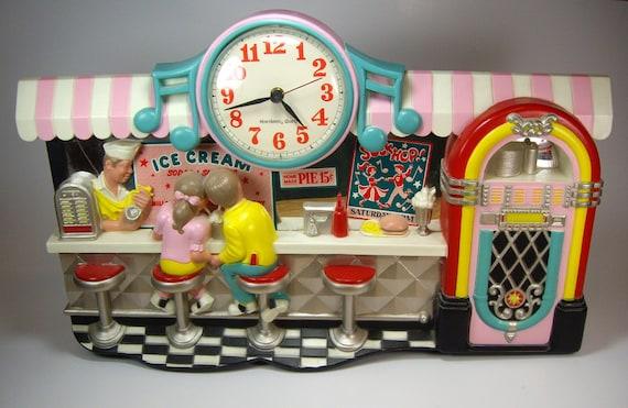 Rock And Roll Ice Cream Soda Shop Diner Wall Clock Sock Hop