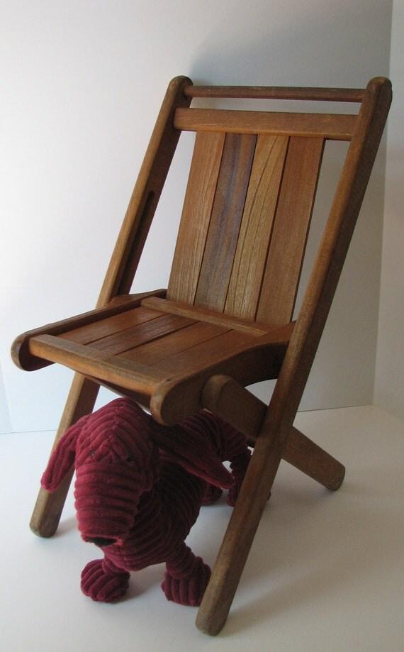 Cutest Little Vintage Child s Wooden Folding Chair