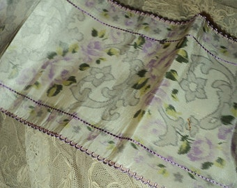 Antique French Silk Moire Floral Wide Ribbon Rare Lavendar Scroll Finished Edges