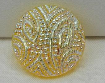 Medium Embossed Czech Glass Button