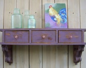 """30"""" long x 15"""" high x 9.25 Deep - Wall Shelf - Entryway - Desk - Drawer Option - Cottage Chic - Shabby - French Country - Paris Apartment"""