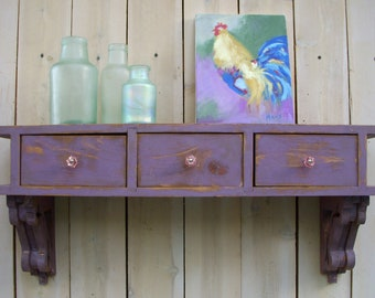 "33"" long x 15"" high x 9.25 Deep - Floating Shelf - Entryway - Desk - Drawers - Cottage Chic - Shabby - French Country - Paris Apartment"