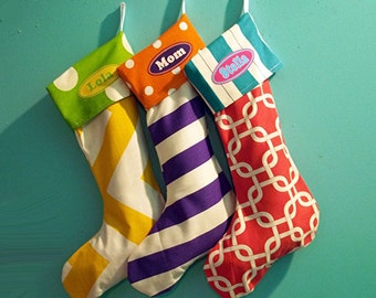 Christmas Stockings Personalized, 3 pack holiday stockings, hot pink green, purple polka dots, mid century, rocker
