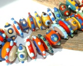 Discs and Donuts Bright Set of lampwork beads