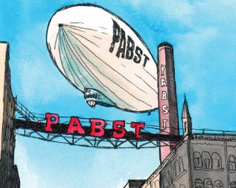 Pabst Zeppelin Industrial Dream Illustrated Print