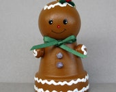 Christmas Gingerbread Flowerpot Bell Ornament
