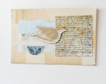 Vintage Book Collage - Map with Bird - The World and It's Wonders