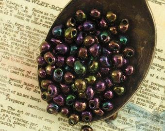 Metallic Dark Plum Iris Fringe Glass Beads - Perfect for Your Autumn Creations