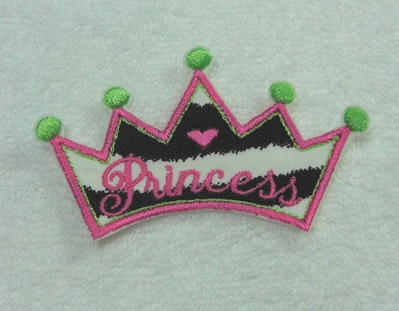 Princess Crown Tiara Iron On Applique Patch Ready to Ship