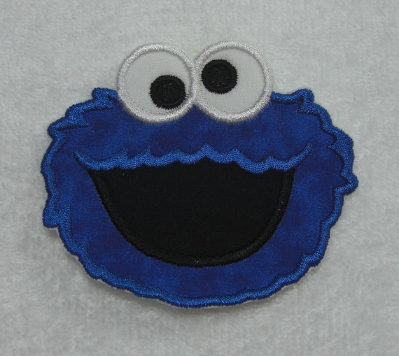 Cookie Monster Face Fabric Embroidered Iron On Applique Patch Ready to Ship