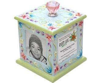 Colorful Flowers Rotating Photo Frame Cube
