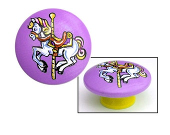 Carousel Horse Knob - Purple and Yellow with White Horse
