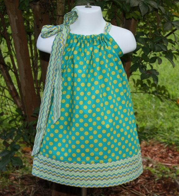 dots Pillowcase dress SALE Michael Miller turquoise blue lime green chevron wave 3 6 9  12 mos, 18 mos, 24 mos, 2t, 3t, 4t