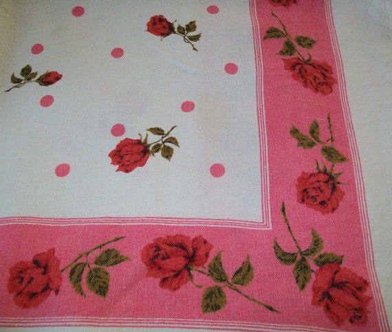 Vintage tablecloth, pink, white, linen, red rose, white, table cloth, cloth