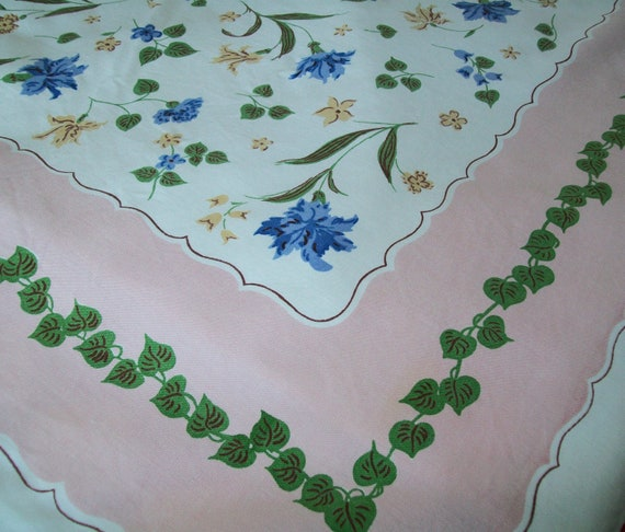 SALE - Vintage Simtex tablecloth, pink, linen, blue, green, yellow, floral, table cloth, Simtex, 1970s, 1960s, wildflowers