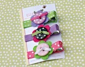Rebecca - Felt Flower and Button Hair Clip Set (also avail. in baby snap clip)