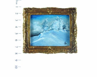 Miniature Original Acrylic Painting, Winter Painting, Dollhouse Furniture, Dollhouse Miniature Tiny Painting, Christmas Gift, Coldness