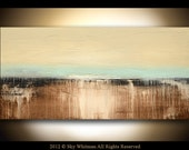 RESERVED FOR TTHIEL Original Textured Cream Brown Blue Abstract Palette Knife Painting Contemporary Modern Art by Sky Whitman