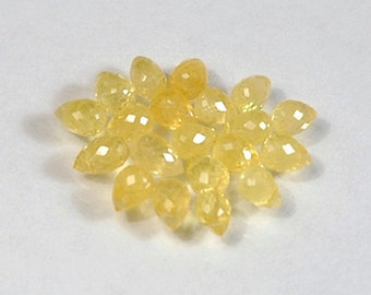 WE SELL QUALITY - Natural Yellow High Sparkle Sapphire Briolettes / Drilled / Item 2286c9