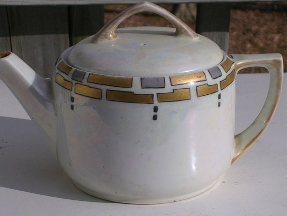 Arts and Crafts Teapot Lustreware Gold and Silver Decoration