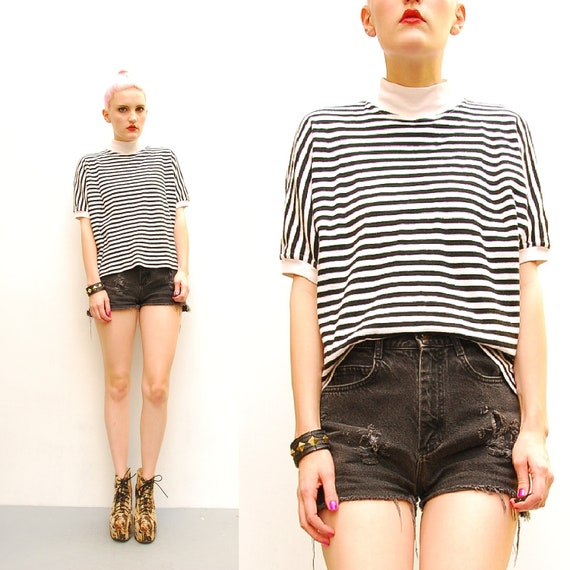 90s Shirt - Black White Striped Tshirt - Oversized Dolman T-Shirt - 1990s High Neck Mod Shirt - Cropped Knit Top -  M L