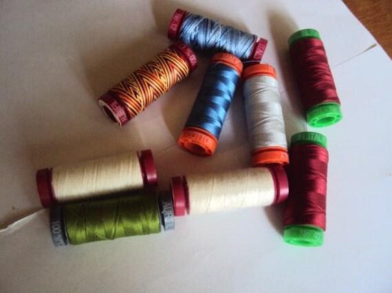 Aurifil Thread, cotton and wool thread, 9 spools, multicolor, destash supplies (quilting thread)