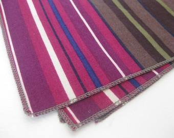 Cloth Napkins - Brown and Purple Stripes - 10 Inch Cotton (25.4 cm)