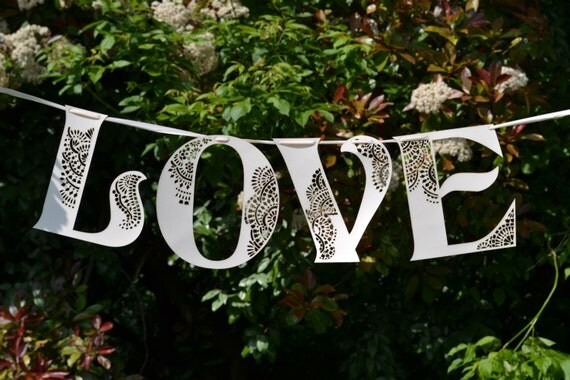 Love laser cut wedding Banner