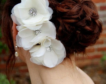 Grace-Organza Flower Bridal Comb with Rhinestones