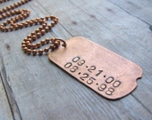 Personalized Hand-Stamped Dog Tag Necklace, Necklace for Him, Dad Necklace - Daddy Dates