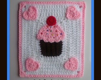 I Love Cupcakes Afghan & Pillow Motif- Pattern Has 3 Sizes To Make For The Pillow