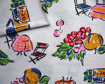 Vintage Fabric 80's Jersey Cotton, White, Colorful, Resort, Printed, Material