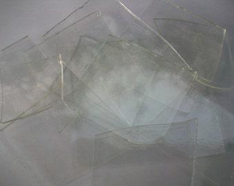 Fused Glass Scrap Glass COE 96, Clear Transparent